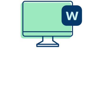 computer screen with letter W